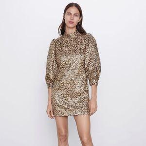 ZARA metallic leopard print dress sz.L, NWT
